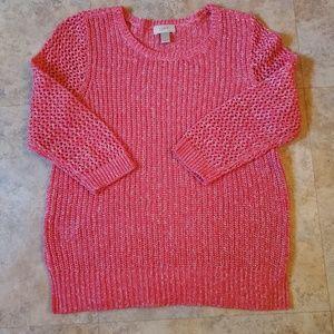 Pink LOFT cable knit sweater size L